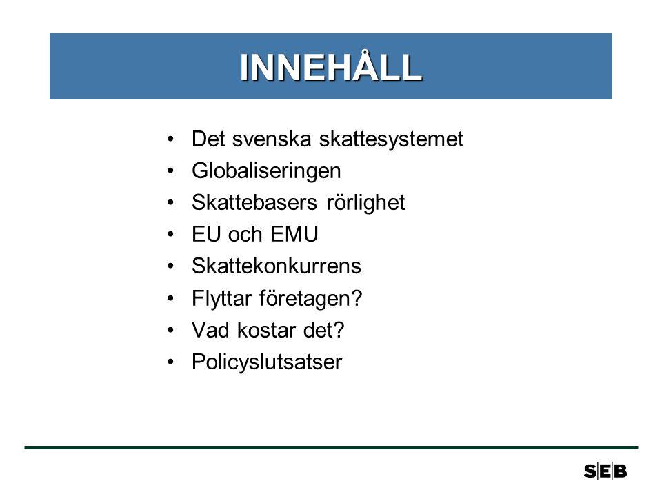 INNEHÅLL •Det svenska skattesystemet •Globaliseringen •Skattebasers rörlighet •EU och EMU •Skattekonkurrens •Flyttar företagen.