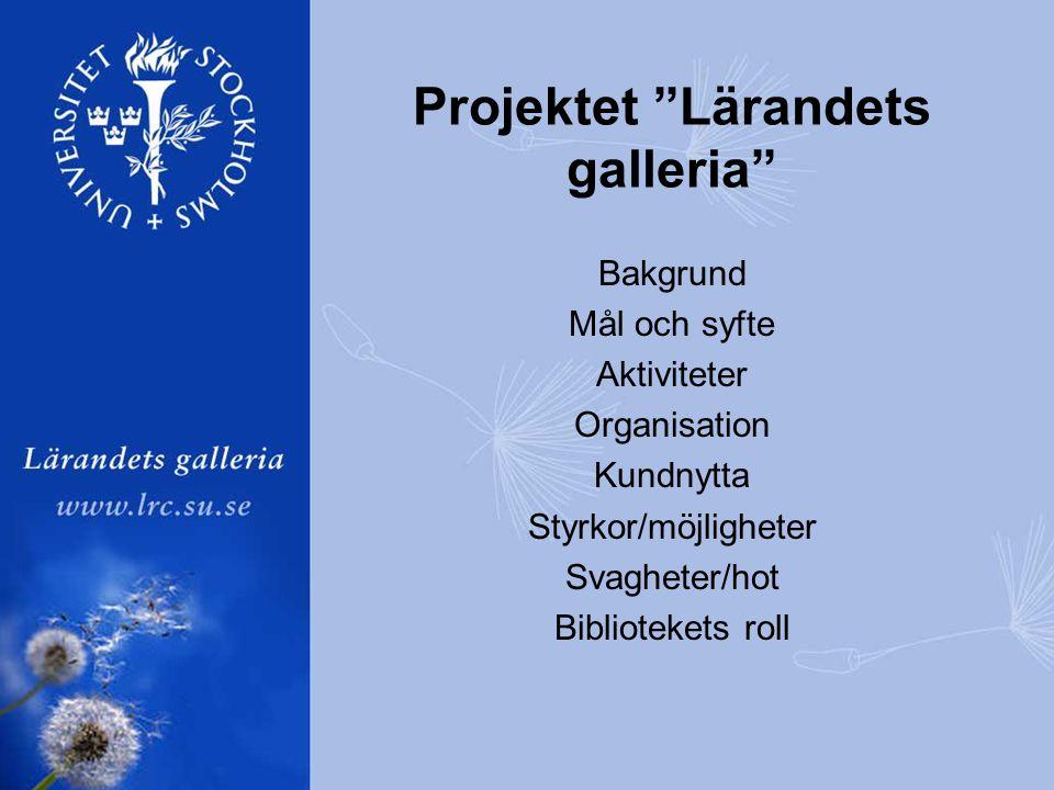 Projektet Lärandets galleria Bakgrund Mål och syfte Aktiviteter Organisation Kundnytta Styrkor/möjligheter Svagheter/hot Bibliotekets roll