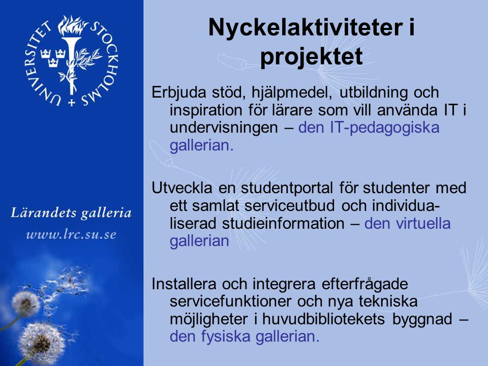 Nyckelaktiviteter i projektet Erbjuda stöd, hjälpmedel, utbildning och inspiration för lärare som vill använda IT i undervisningen – den IT-pedagogiska gallerian.