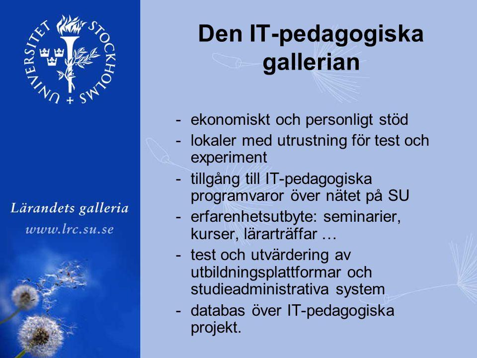 -ekonomiskt och personligt stöd -lokaler med utrustning för test och experiment -tillgång till IT-pedagogiska programvaror över nätet på SU -erfarenhetsutbyte: seminarier, kurser, lärarträffar … -test och utvärdering av utbildningsplattformar och studieadministrativa system -databas över IT-pedagogiska projekt.