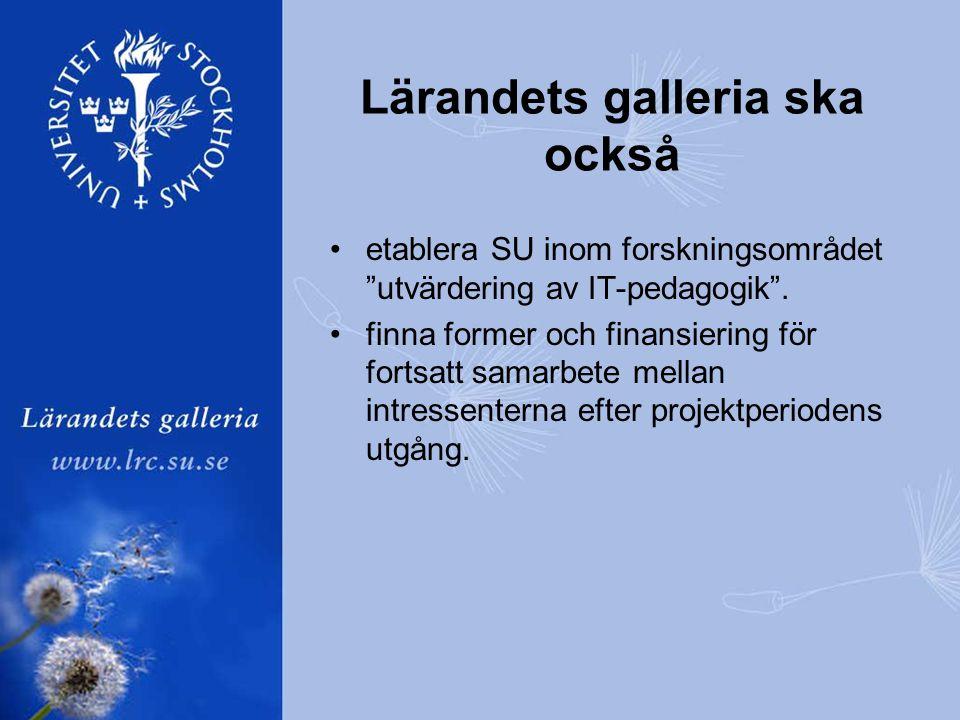 Lärandets galleria ska också •etablera SU inom forskningsområdet utvärdering av IT-pedagogik .