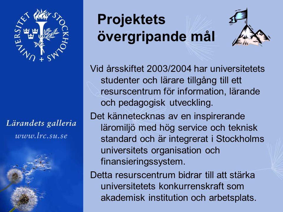 Projektets övergripande mål Vid årsskiftet 2003/2004 har universitetets studenter och lärare tillgång till ett resurscentrum för information, lärande och pedagogisk utveckling.