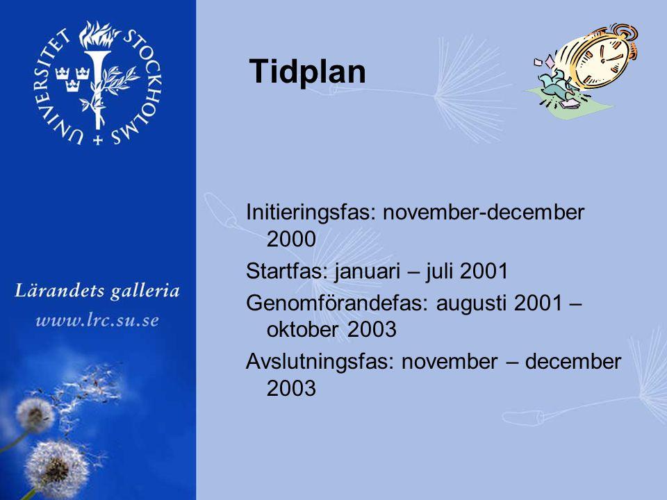 Tidplan Initieringsfas: november-december 2000 Startfas: januari – juli 2001 Genomförandefas: augusti 2001 – oktober 2003 Avslutningsfas: november – december 2003
