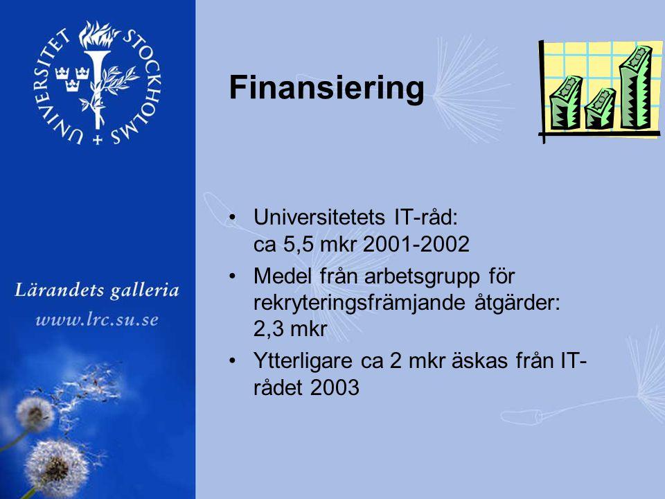 Finansiering •Universitetets IT-råd: ca 5,5 mkr 2001-2002 •Medel från arbetsgrupp för rekryteringsfrämjande åtgärder: 2,3 mkr •Ytterligare ca 2 mkr äskas från IT- rådet 2003