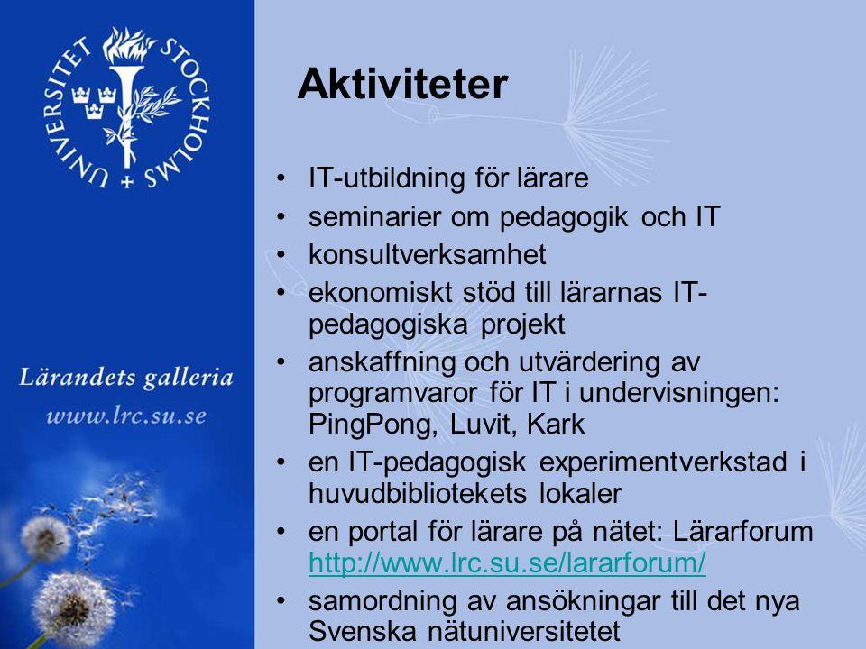 Aktiviteter •IT-utbildning för lärare •seminarier om pedagogik och IT •konsultverksamhet •ekonomiskt stöd till lärarnas IT- pedagogiska projekt •anskaffning och utvärdering av programvaror för IT i undervisningen: PingPong, Luvit, Kark •en IT-pedagogisk experimentverkstad i huvudbibliotekets lokaler •en portal för lärare på nätet: Lärarforum http://www.lrc.su.se/lararforum/ http://www.lrc.su.se/lararforum/ •samordning av ansökningar till det nya Svenska nätuniversitetet