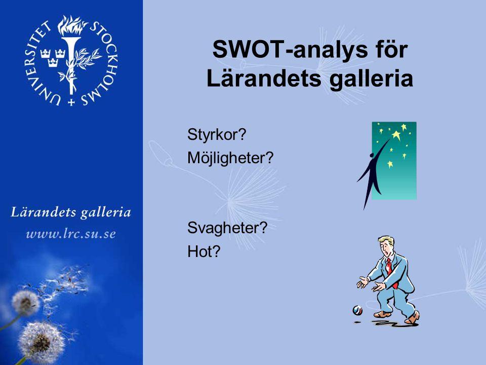 Styrkor Möjligheter Svagheter Hot SWOT-analys för Lärandets galleria