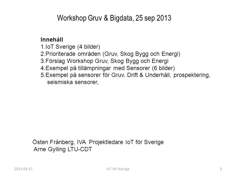 2013-09-17IoT för Sverige1 Workshop Gruv & Bigdata, 25 sep 2013 Innehåll 1.IoT Sverige (4 bilder) 2.Prioriterade områden (Gruv, Skog Bygg och Energi)