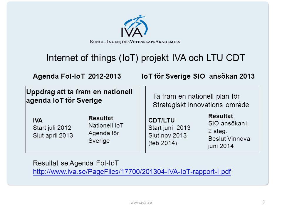 2013-09-17IoT för Sverige3 Syfte med Workshoppen IoT projektet arbetar för att etablera ett Strategiskt Innovations område för Internet of Things (SIO IoT) till nytta för samhället och för näringslivets utveckling.