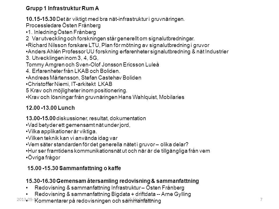 2013-09-17IoT för Sverige7 Grupp 1 Infrastruktur Rum A 10.15-15.30 Det är viktigt med bra nät-infrastruktur i gruvnäringen. Processledare Östen Frånbe