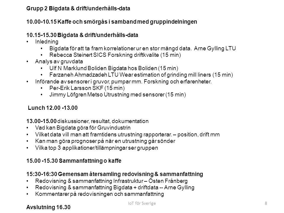 IoT för Sverige8 Grupp 2 Bigdata & drift/underhålls-data 10.00-10.15 Kaffe och smörgås i samband med gruppindelningen 10.15-15.30 Bigdata & drift/unde