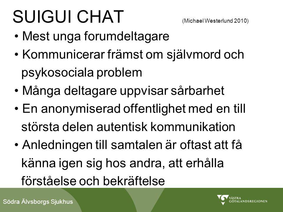 Södra Älvsborgs Sjukhus SUIGUI CHAT (Michael Westerlund 2010) • Mest unga forumdeltagare • Kommunicerar främst om självmord och psykosociala problem •
