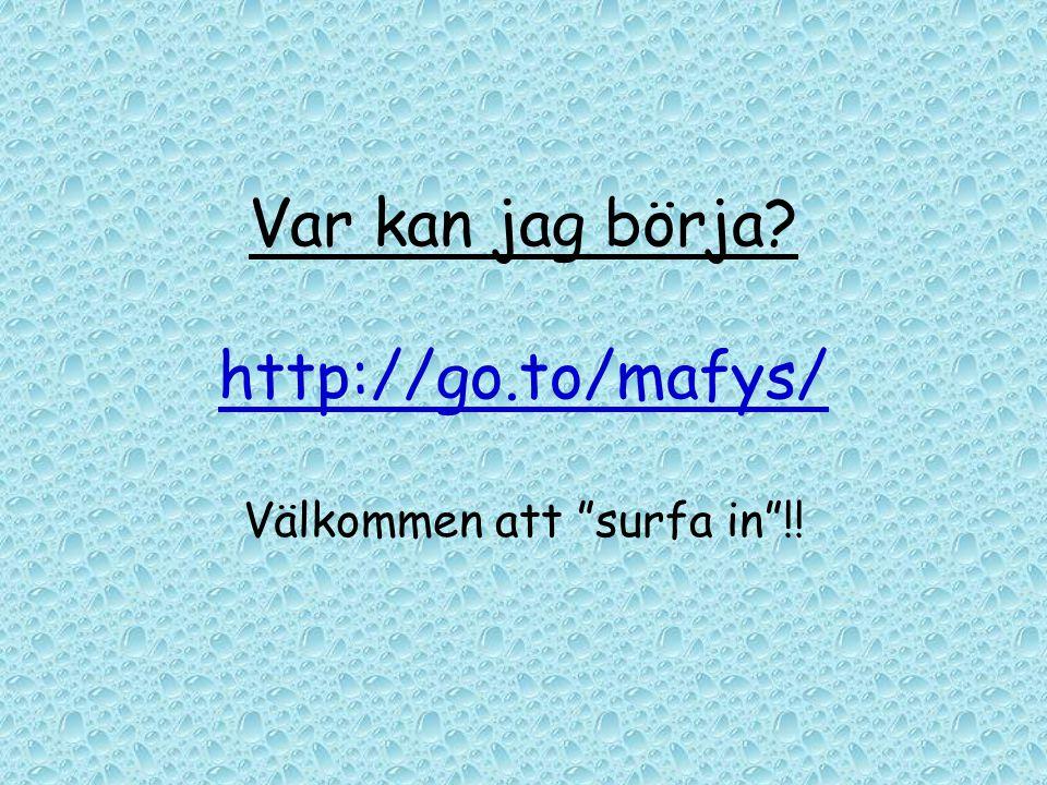 """Var kan jag börja? http://go.to/mafys/ Välkommen att """"surfa in""""!!"""