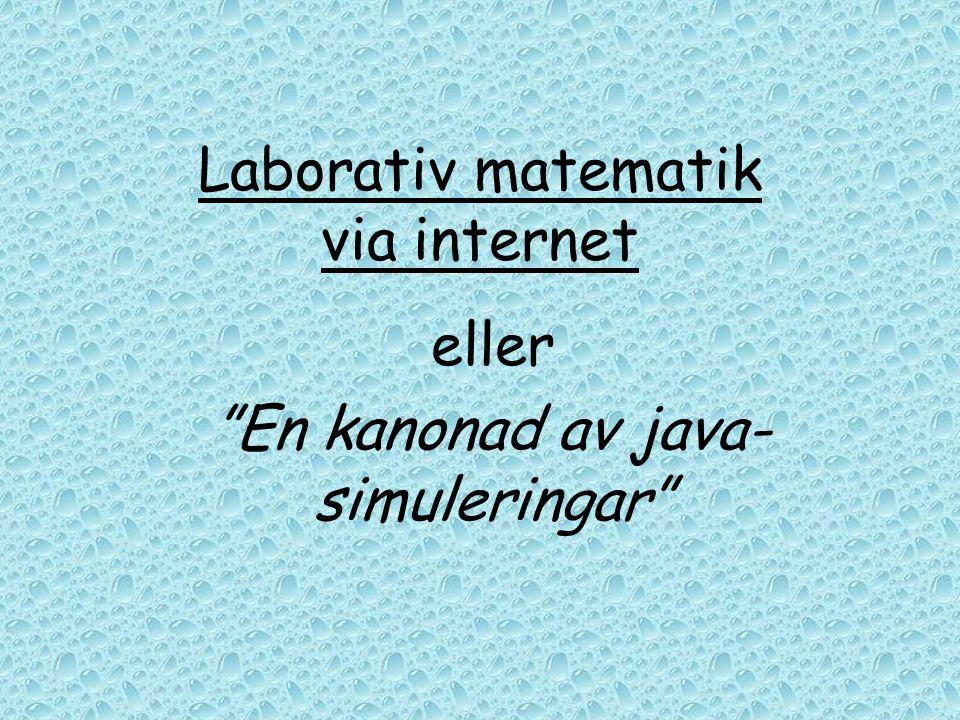 """Laborativ matematik via internet eller """"En kanonad av java- simuleringar"""""""