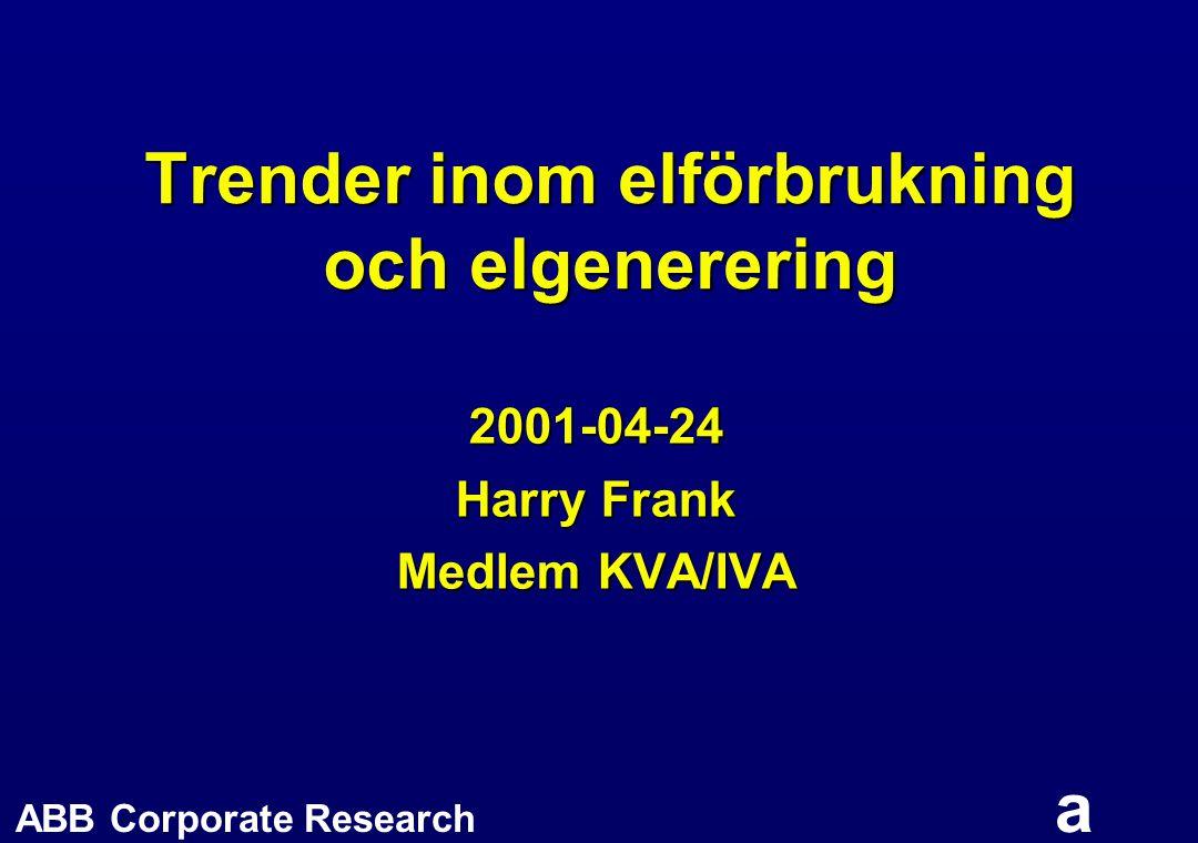 ABB Corporate Research a Trender inom elförbrukning och elgenerering 2001-04-24 Harry Frank Medlem KVA/IVA