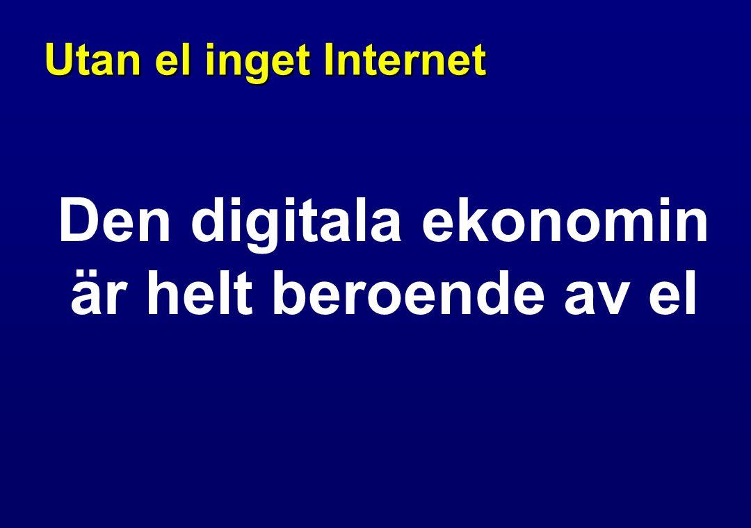 Utan el inget Internet Den digitala ekonomin är helt beroende av el