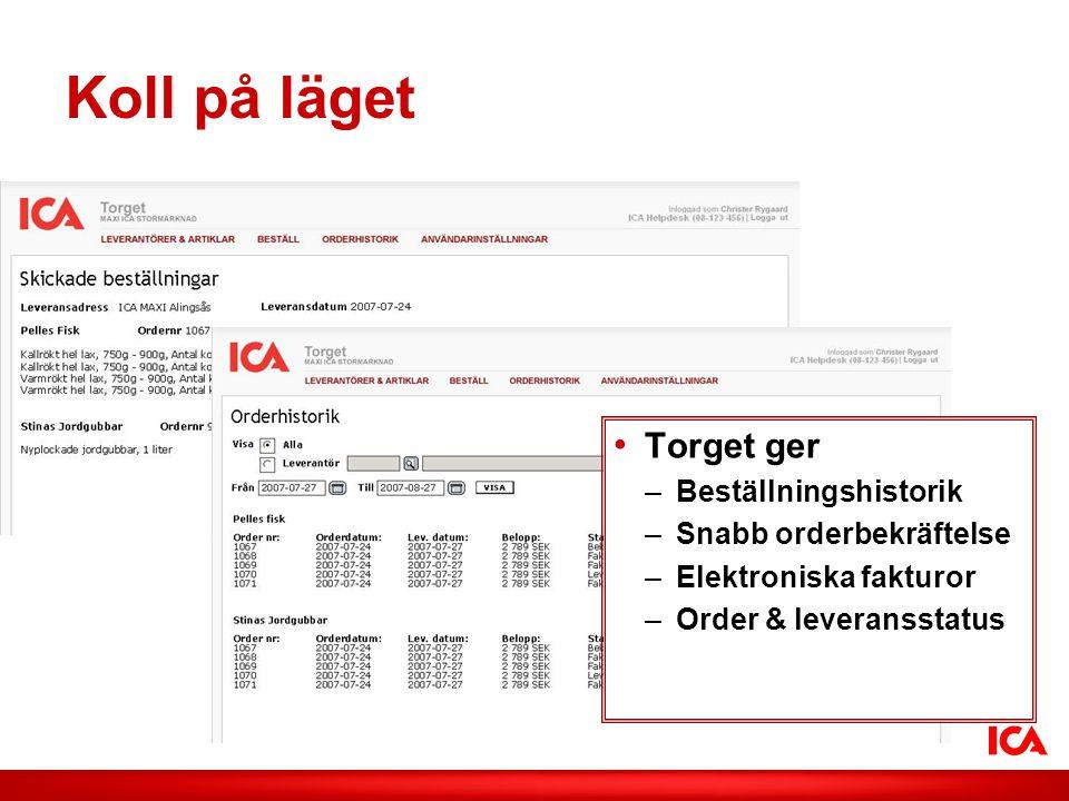 ICA AB /Smak på lokalt Koll på läget • Torget ger –Beställningshistorik –Snabb orderbekräftelse –Elektroniska fakturor –Order & leveransstatus