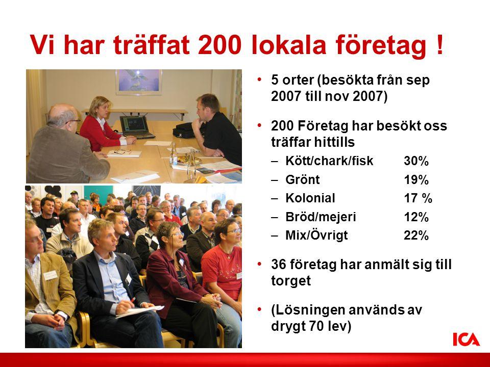 ICA AB /Smak på lokalt Vi har träffat 200 lokala företag .