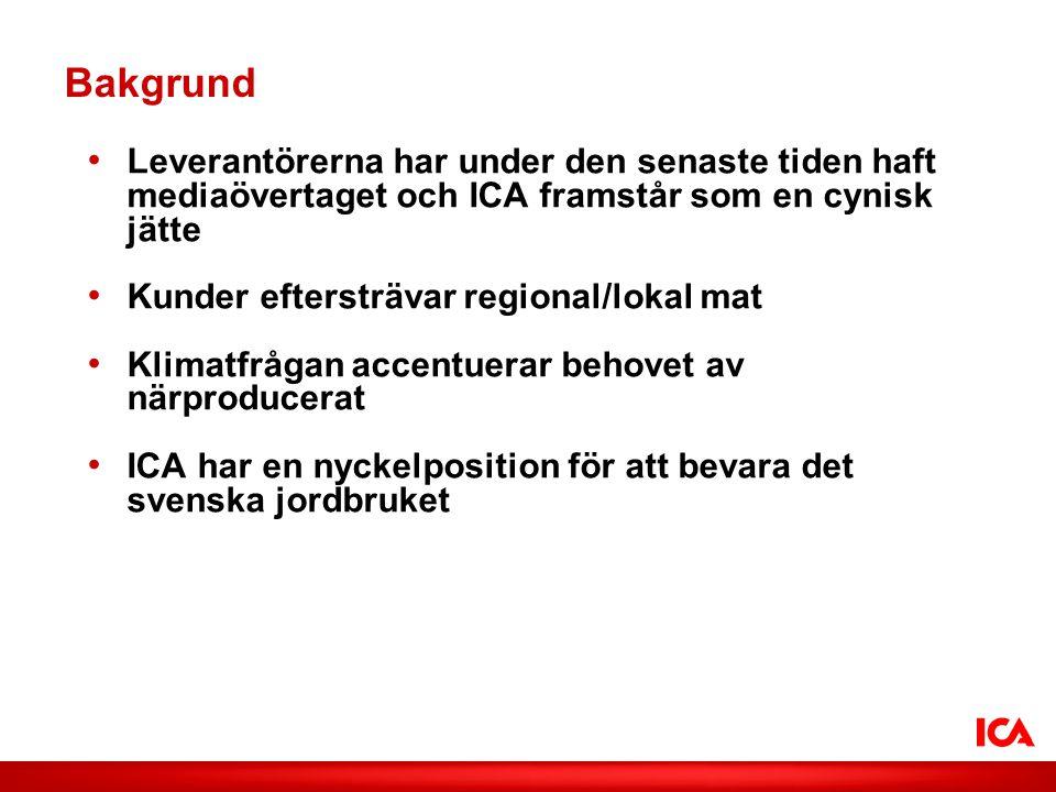 ICA AB /Smak på lokalt Bakgrund • Leverantörerna har under den senaste tiden haft mediaövertaget och ICA framstår som en cynisk jätte • Kunder eftersträvar regional/lokal mat • Klimatfrågan accentuerar behovet av närproducerat • ICA har en nyckelposition för att bevara det svenska jordbruket
