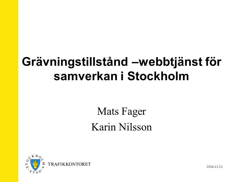 2006-11-23 Grävningstillstånd –webbtjänst för samverkan i Stockholm Mats Fager Karin Nilsson