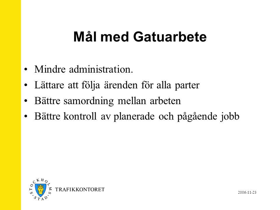 2006-11-23 Mål med Gatuarbete •Mindre administration.