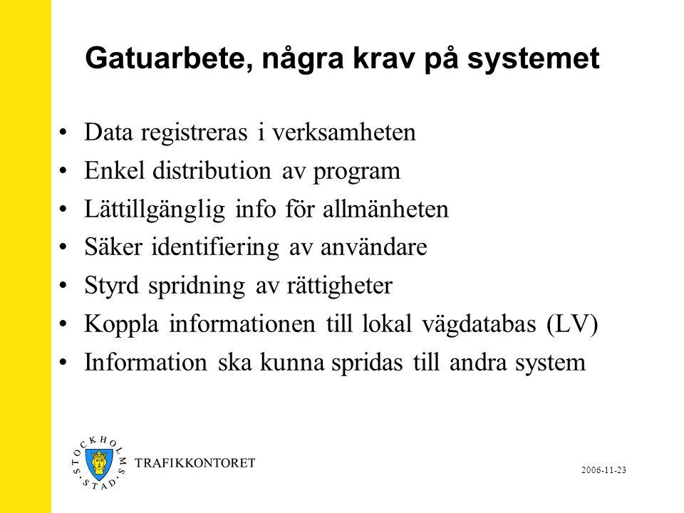 2006-11-23 Gatuarbete, många roller i samarbete •Systemadmin – TK, kan göra allt.