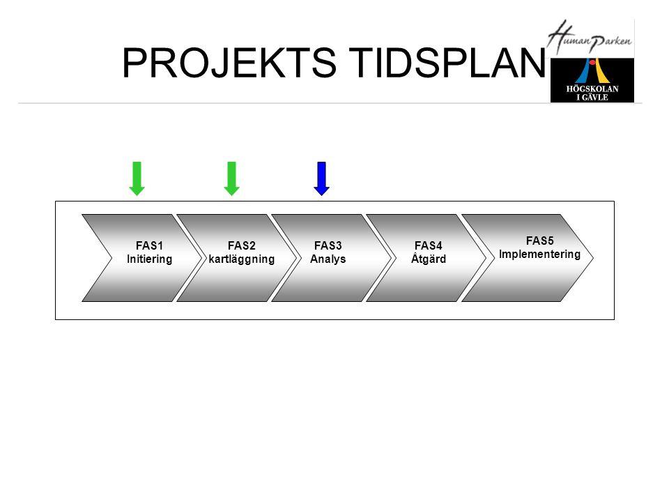 PROJEKTS TIDSPLAN FAS1 Initiering FAS2 kartläggning FAS3 Analys FAS4 Åtgärd FAS5 Implementering