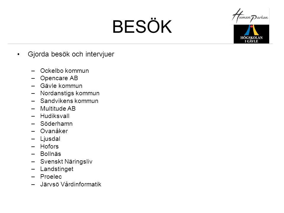 BESÖK •Gjorda besök och intervjuer –Ockelbo kommun –Opencare AB –Gävle kommun –Nordanstigs kommun –Sandvikens kommun –Multitude AB –Hudiksvall –Söderh