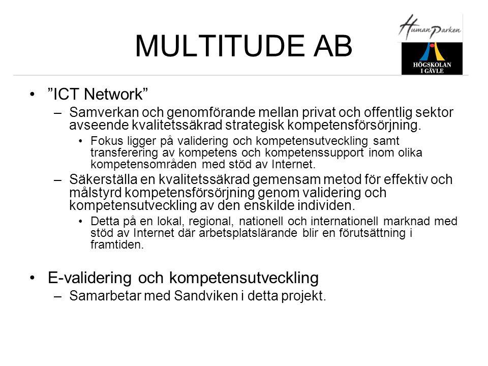 """MULTITUDE AB •""""ICT Network"""" –Samverkan och genomförande mellan privat och offentlig sektor avseende kvalitetssäkrad strategisk kompetensförsörjning. •"""