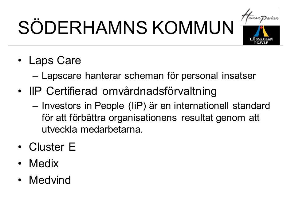 SÖDERHAMNS KOMMUN •Laps Care –Lapscare hanterar scheman för personal insatser •IIP Certifierad omvårdnadsförvaltning –Investors in People (IiP) är en