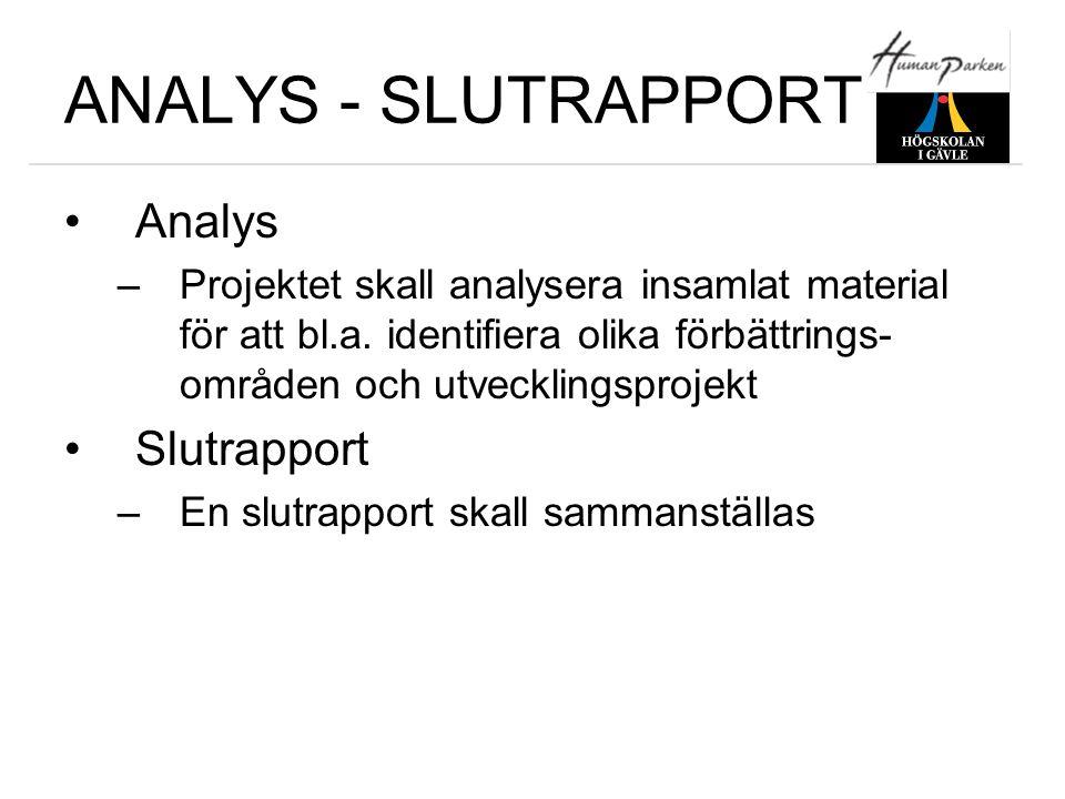 ANALYS - SLUTRAPPORT •Analys –Projektet skall analysera insamlat material för att bl.a. identifiera olika förbättrings- områden och utvecklingsprojekt