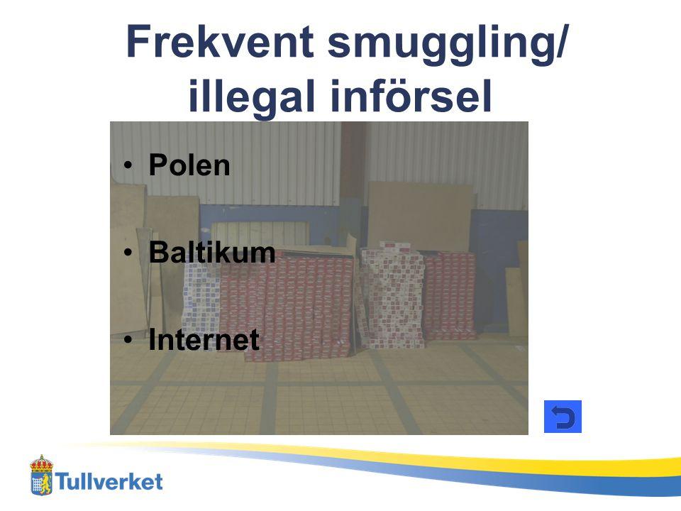 •Polen •Baltikum •Internet Frekvent smuggling/ illegal införsel