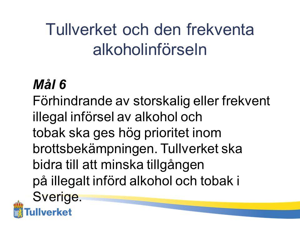 Tullverket och den frekventa alkoholinförseln Mål 6 Förhindrande av storskalig eller frekvent illegal införsel av alkohol och tobak ska ges hög priori