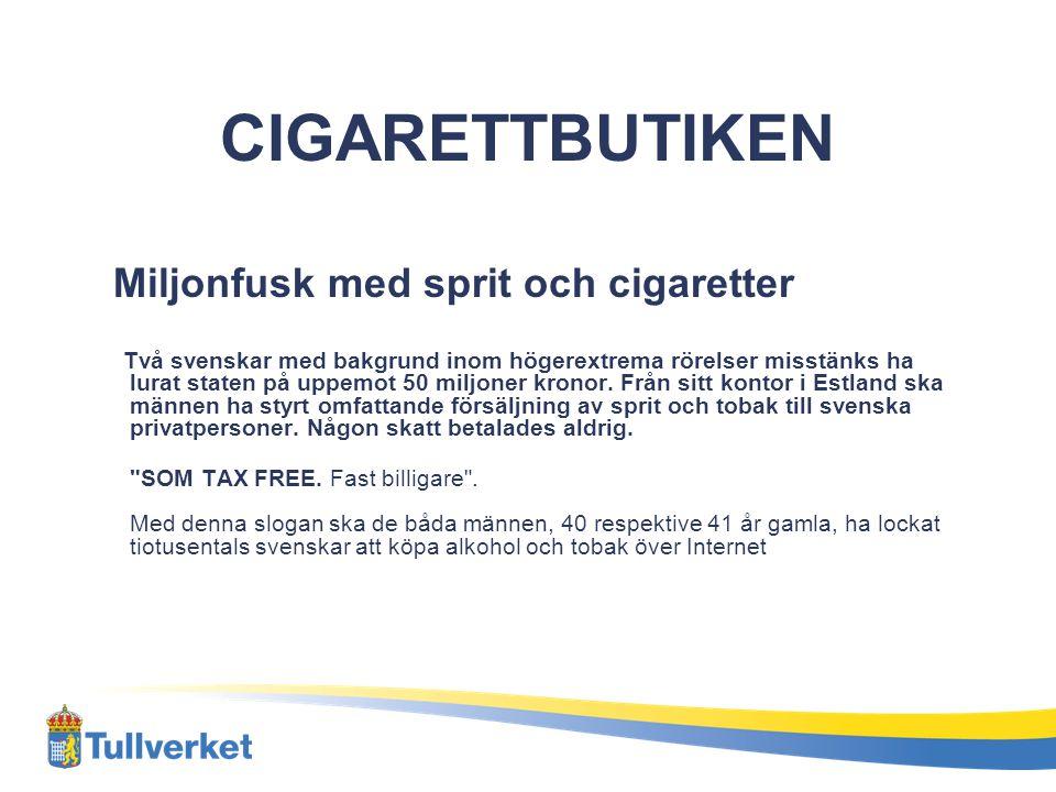 CIGARETTBUTIKEN Miljonfusk med sprit och cigaretter Två svenskar med bakgrund inom högerextrema rörelser misstänks ha lurat staten på uppemot 50 miljo