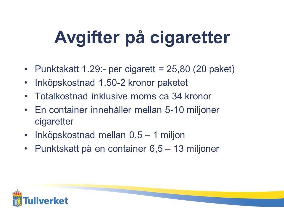 Avgifter på cigaretter •Punktskatt 1.29:- per cigarett = 25,80 (20 paket) •Inköpskostnad 1,50-2 kronor paketet •Totalkostnad inklusive moms ca 34 kron