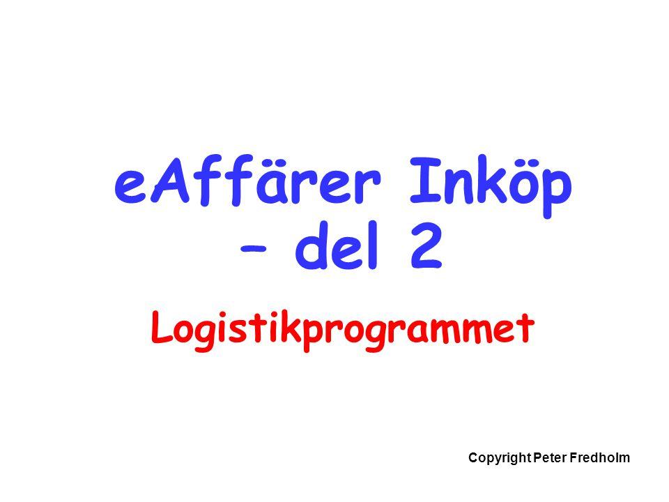 Copyright Peter Fredholm eAffärer Inköp – del 2 Logistikprogrammet