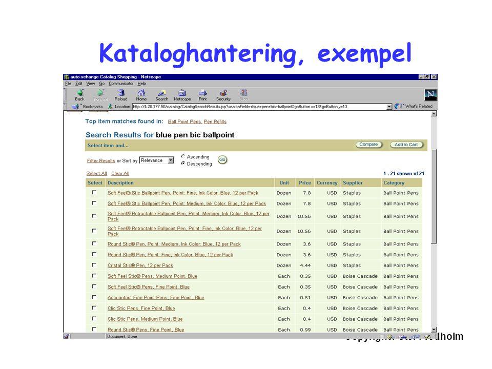 Copyright Peter Fredholm Kataloghantering, exempel
