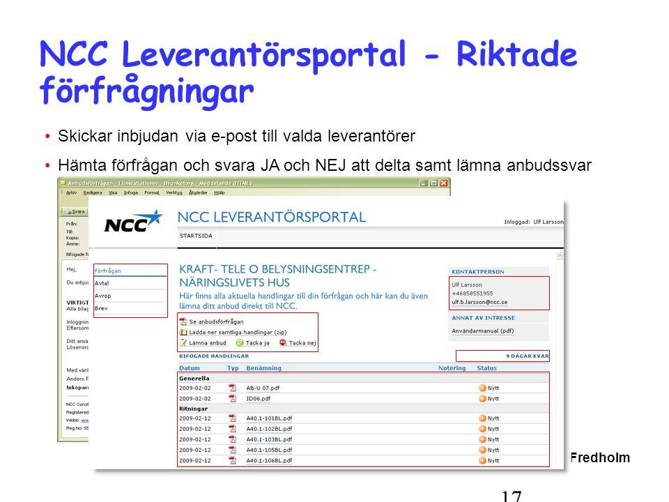 Copyright Peter Fredholm 17 NCC Leverantörsportal - Riktade förfrågningar •Skickar inbjudan via e-post till valda leverantörer •Hämta förfrågan och svara JA och NEJ att delta samt lämna anbudssvar
