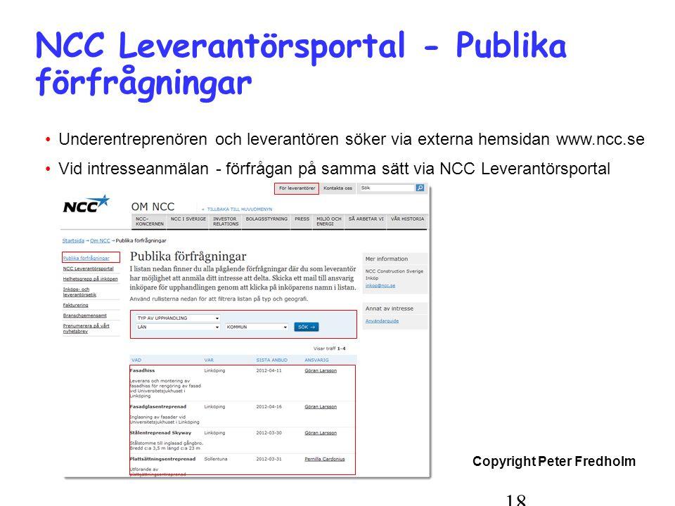 Copyright Peter Fredholm 18 NCC Leverantörsportal - Publika förfrågningar •Underentreprenören och leverantören söker via externa hemsidan www.ncc.se •Vid intresseanmälan - förfrågan på samma sätt via NCC Leverantörsportal