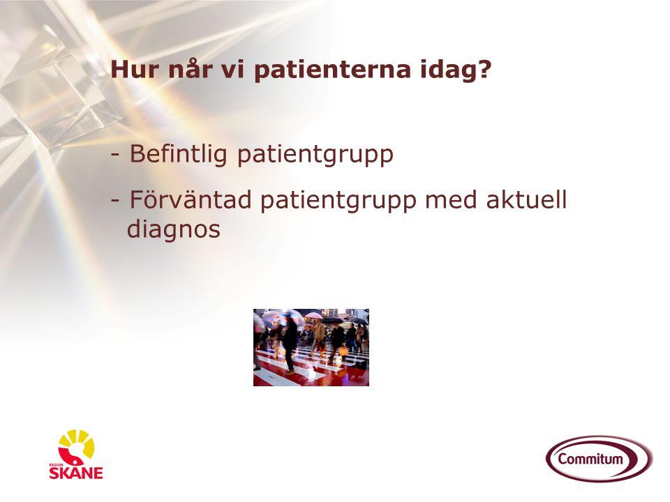 Hur når vi patienterna idag? - Befintlig patientgrupp - Förväntad patientgrupp med aktuell diagnos