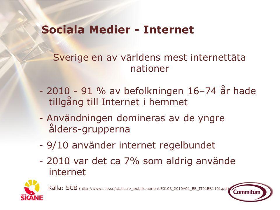 Sverige en av världens mest internettäta nationer - 2010 - 91 % av befolkningen 16–74 år hade tillgång till Internet i hemmet - Användningen domineras
