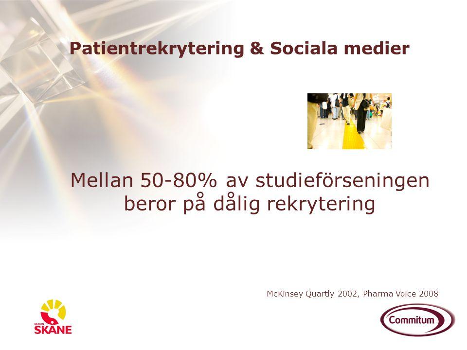 Mellan 50-80% av studieförseningen beror på dålig rekrytering McKinsey Quartly 2002, Pharma Voice 2008 Patientrekrytering & Sociala medier