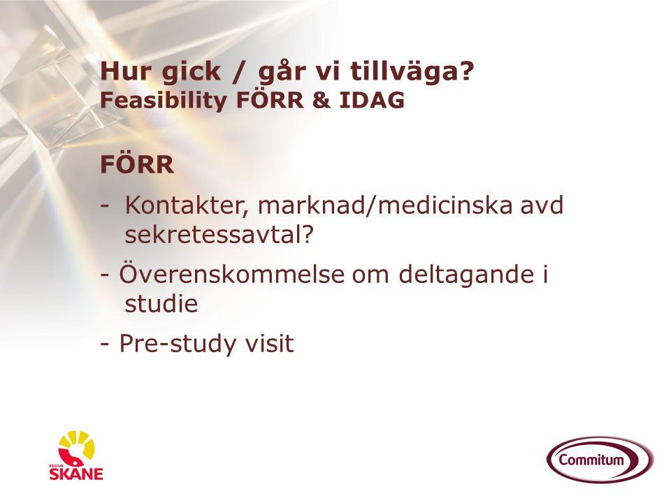 FÖRR -Kontakter, marknad/medicinska avd sekretessavtal? - Överenskommelse om deltagande i studie - Pre-study visit Hur gick / går vi tillväga? Feasibi