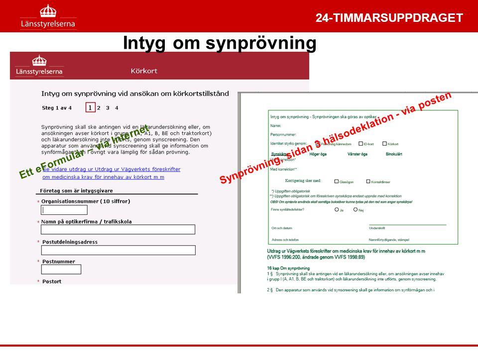 24-TIMMARSUPPDRAGET Ett eFormulär – via Internet Intyg om synprövning Synprövning, sidan 3 hälsodeklation - via posten