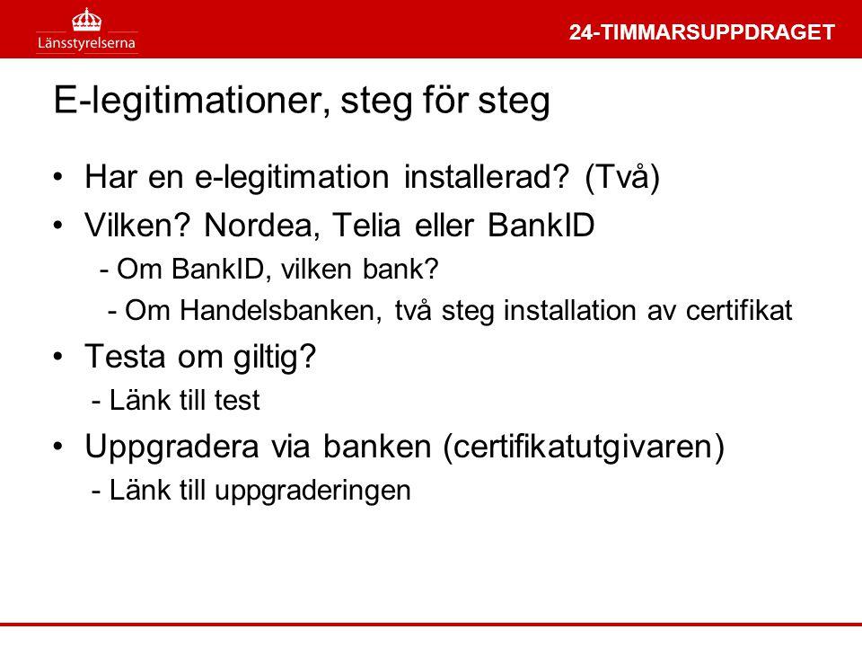 24-TIMMARSUPPDRAGET E-legitimationer, steg för steg •Har en e-legitimation installerad.