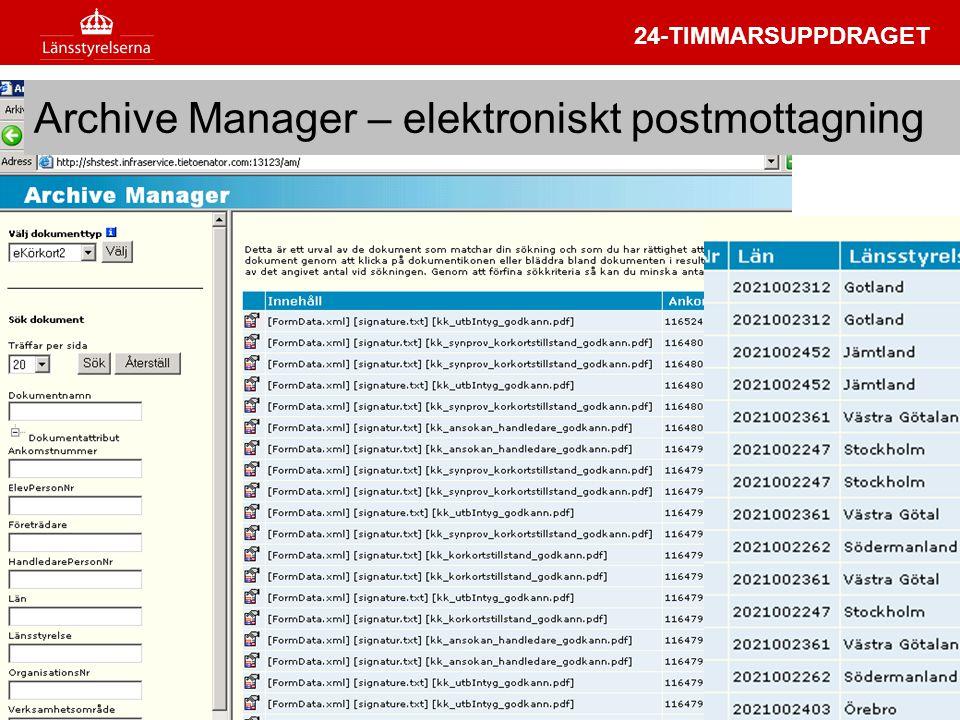 Archive Manager – elektroniskt postmottagning