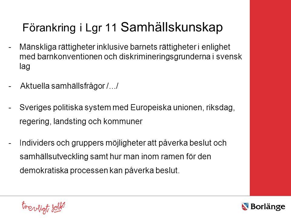 Förankring i Lgr 11 Samhällskunskap -Mänskliga rättigheter inklusive barnets rättigheter i enlighet med barnkonventionen och diskrimineringsgrunderna i svensk lag - Aktuella samhällsfrågor /.../ -Sveriges politiska system med Europeiska unionen, riksdag, regering, landsting och kommuner -Individers och gruppers möjligheter att påverka beslut och samhällsutveckling samt hur man inom ramen för den demokratiska processen kan påverka beslut.
