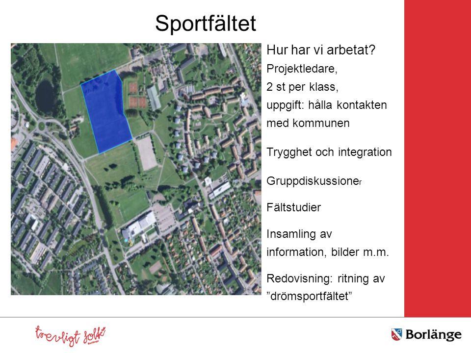 Sportfältet Hur har vi arbetat? Projektledare, 2 st per klass, uppgift: hålla kontakten med kommunen Trygghet och integration Gruppdiskussione r Fälts