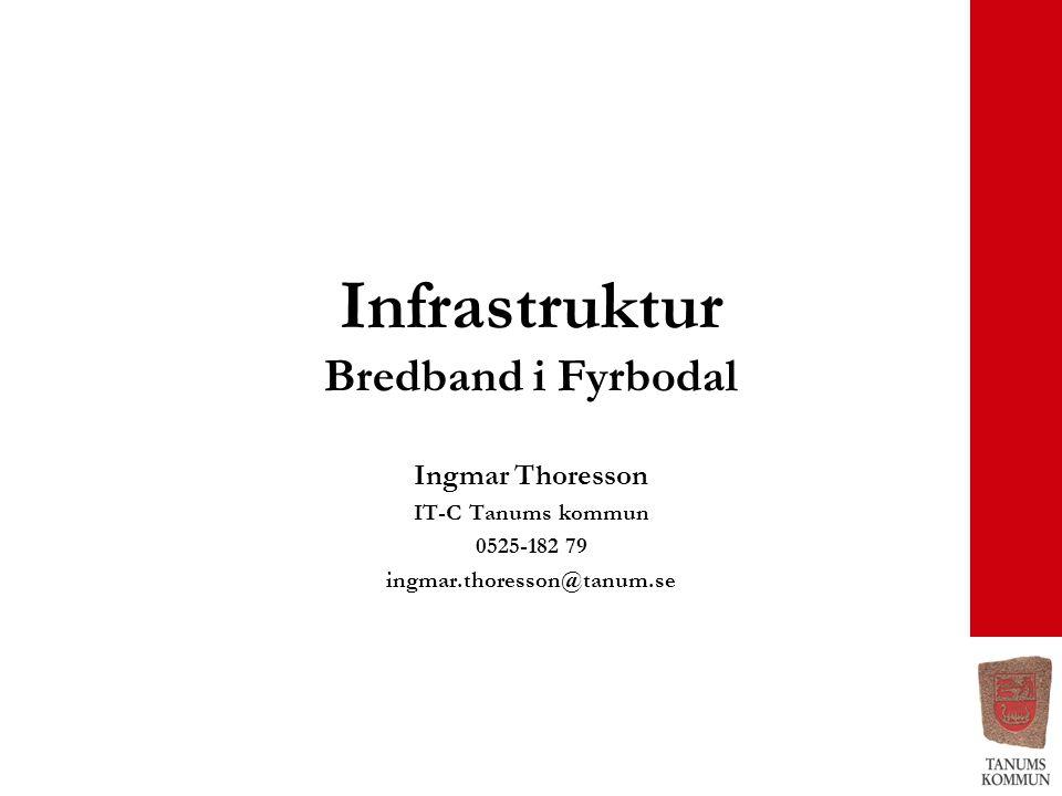 Infrastruktur Bredband i Fyrbodal Ingmar Thoresson IT-C Tanums kommun 0525-182 79 ingmar.thoresson@tanum.se