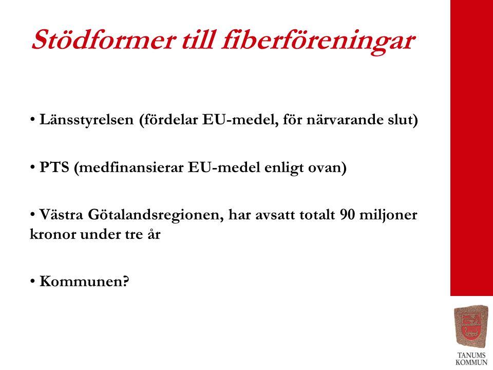 Stödformer till fiberföreningar • Länsstyrelsen (fördelar EU-medel, för närvarande slut) • PTS (medfinansierar EU-medel enligt ovan) • Västra Götalandsregionen, har avsatt totalt 90 miljoner kronor under tre år • Kommunen?
