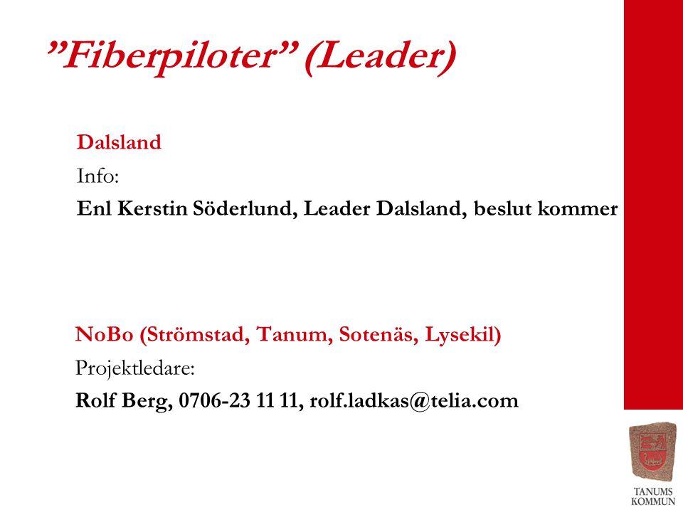 Fiberpiloter (Leader) NoBo (Strömstad, Tanum, Sotenäs, Lysekil) Projektledare: Rolf Berg, 0706-23 11 11, rolf.ladkas@telia.com Dalsland Info: Enl Kerstin Söderlund, Leader Dalsland, beslut kommer
